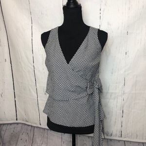 Loft Factory Womens Blouse Size 2P Black White EUC